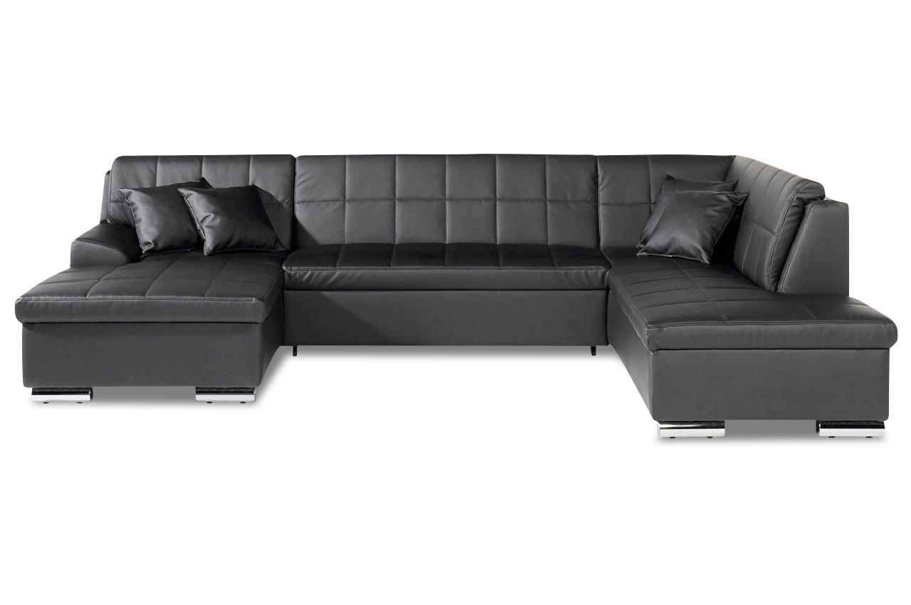 Wohnlandschaft juno mit bett kunstleder sofa couch for Wohnlandschaft bett