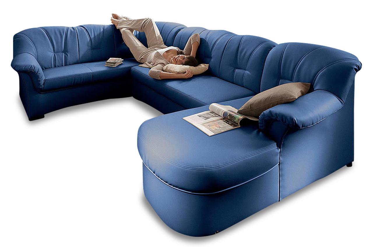 wohnlandschaft papenburg mit schlaffunktion blau. Black Bedroom Furniture Sets. Home Design Ideas