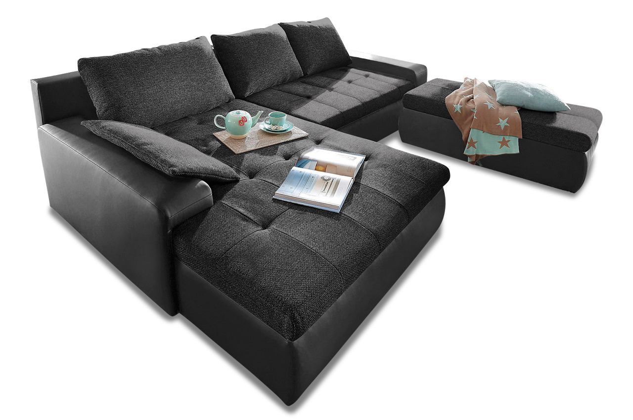 sit more ecksofa candy xxl mit schlaffunktion schwarz sofa couch ecksofa ebay. Black Bedroom Furniture Sets. Home Design Ideas