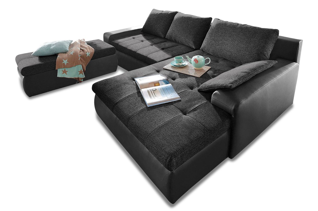 ecksofa candy xxl mit schlaffunktion schwarz sofa couch ecksofa ebay. Black Bedroom Furniture Sets. Home Design Ideas