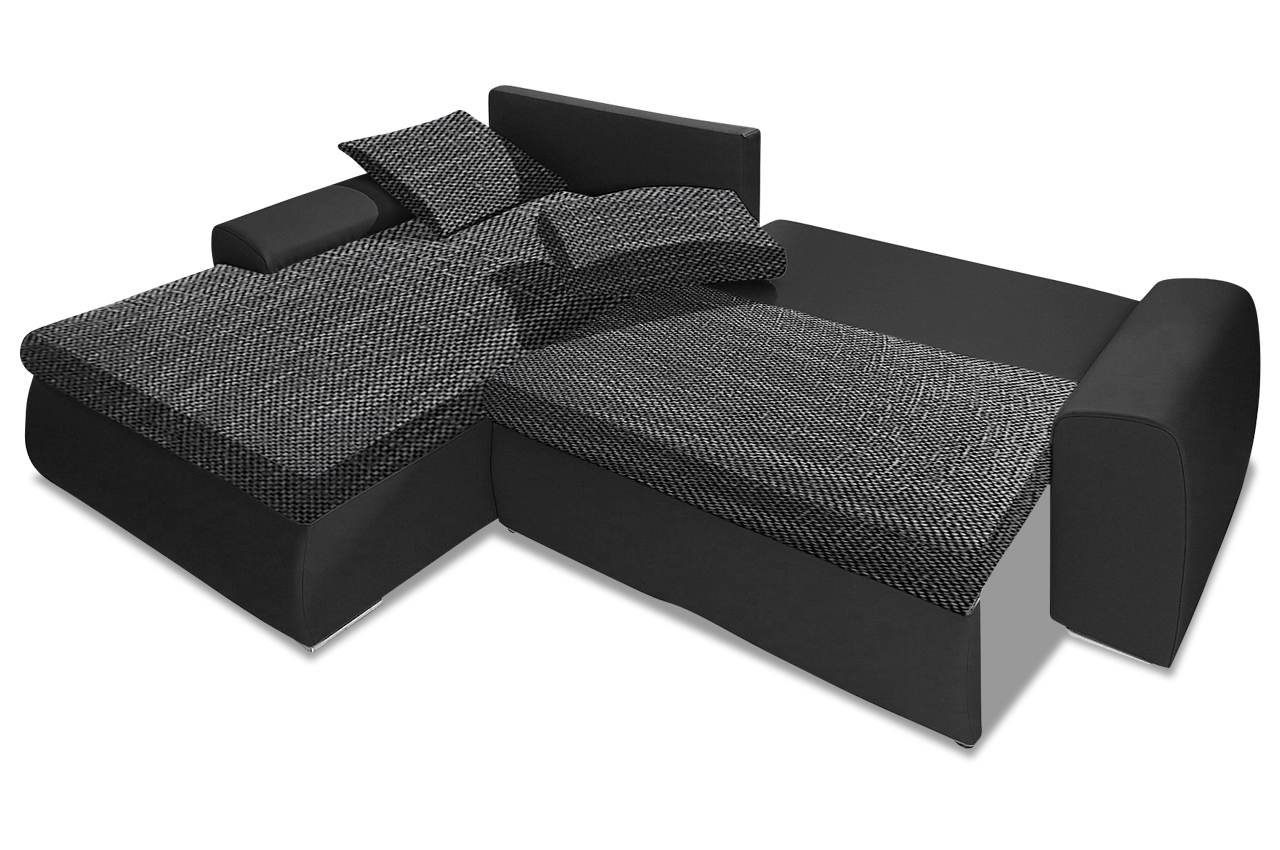 ecksofa cecile xxl mit schlaffunktion schwarz sofa couch ecksofa ebay. Black Bedroom Furniture Sets. Home Design Ideas