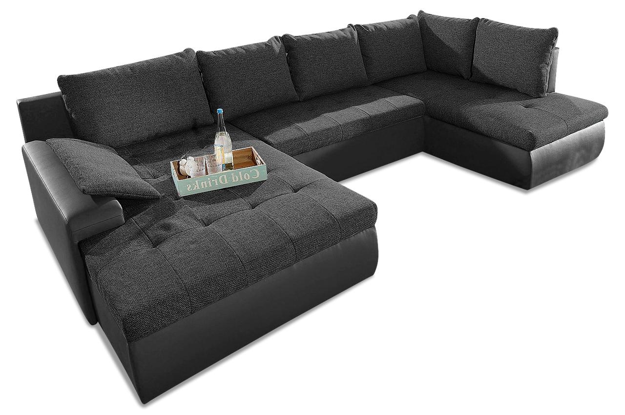 wohnlandschaft candy xl mit schlaffunktion schwarz sofa couch ecksofa ebay. Black Bedroom Furniture Sets. Home Design Ideas