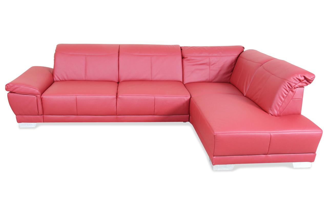 ada alina leder ecksofa xl 7624 rot mit federkern sofas zum halben preis. Black Bedroom Furniture Sets. Home Design Ideas