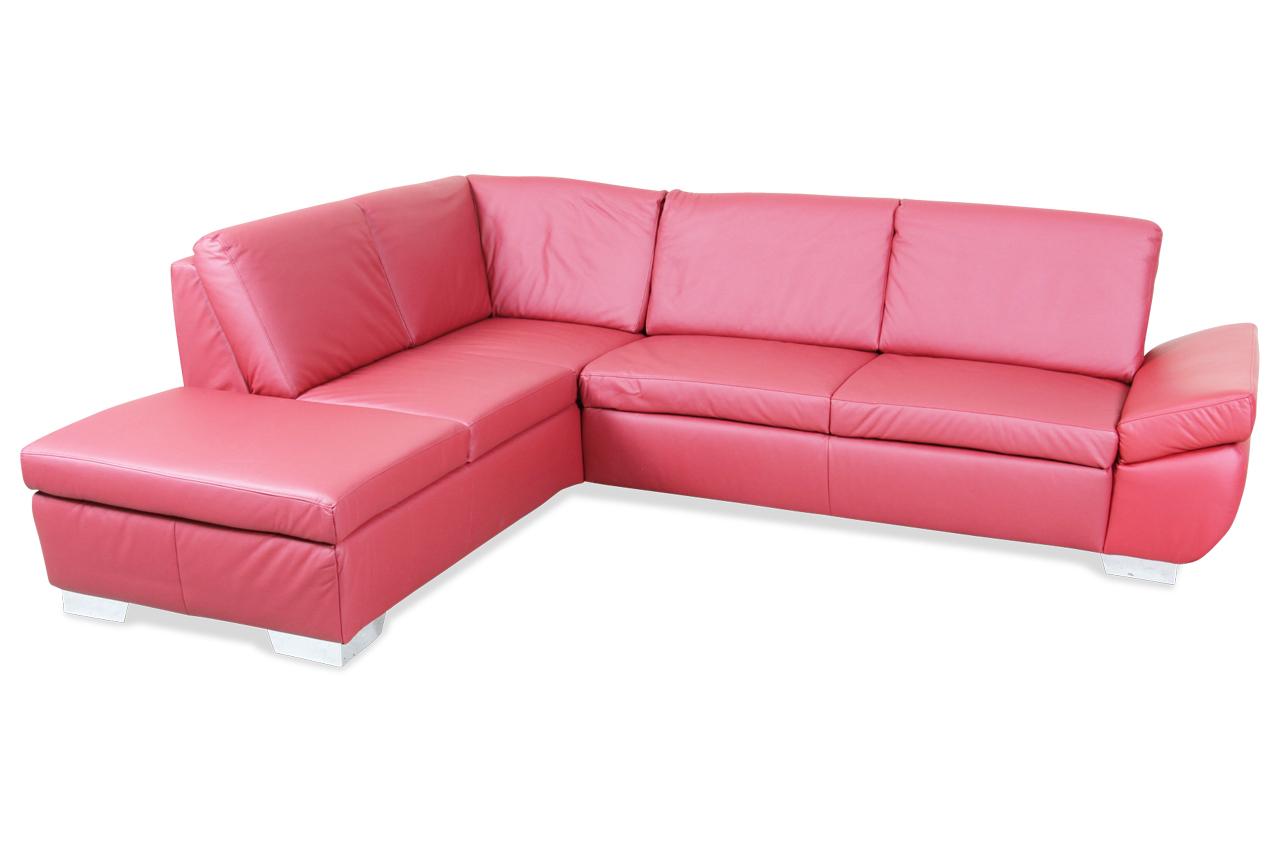 ada alina leder ecksofa xl 7643 rot mit federkern sofas zum halben preis. Black Bedroom Furniture Sets. Home Design Ideas