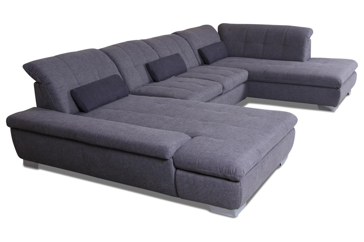 ada alina wohnlandschaft 7695 mit schlaffunktion grau mit federkern sofas zum halben preis. Black Bedroom Furniture Sets. Home Design Ideas
