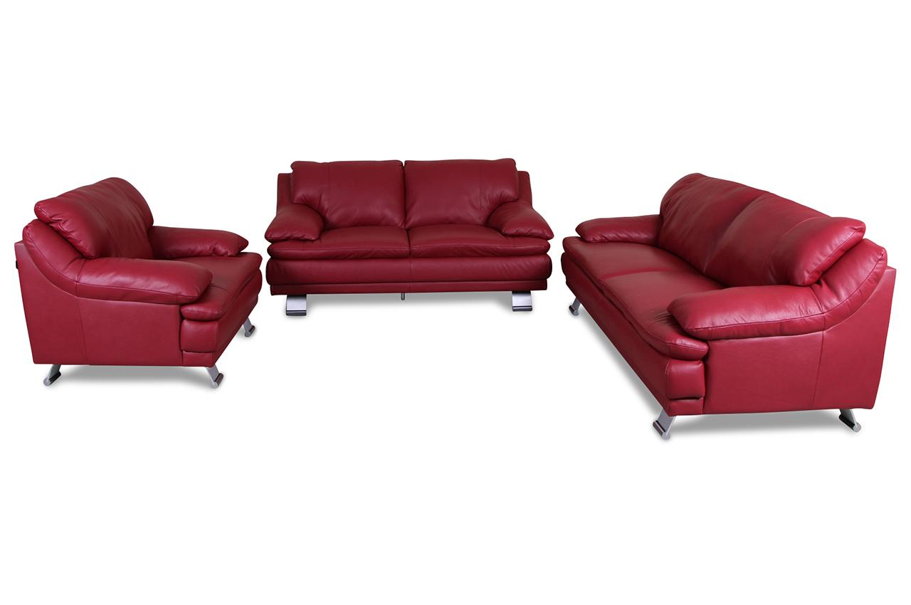 editions leder garnitur 3 2 1 b736 rot mit federkern. Black Bedroom Furniture Sets. Home Design Ideas
