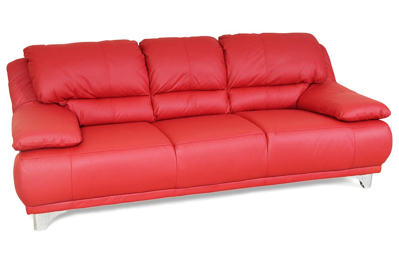 cotta leder 3er sofa agata rot sofas zum halben preis. Black Bedroom Furniture Sets. Home Design Ideas