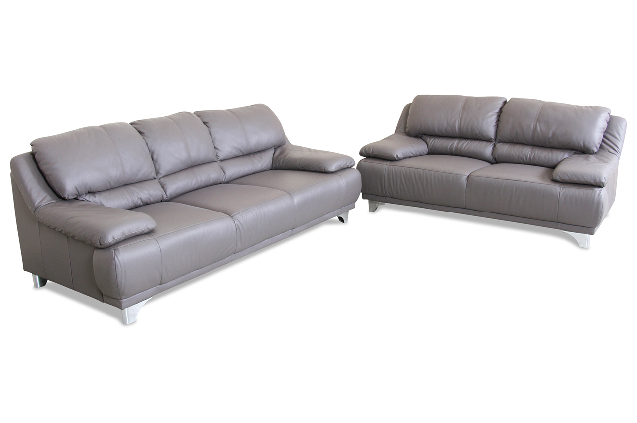 cotta leder garnitur 3 2 dunja grau mit federkern sofas zum halben preis. Black Bedroom Furniture Sets. Home Design Ideas
