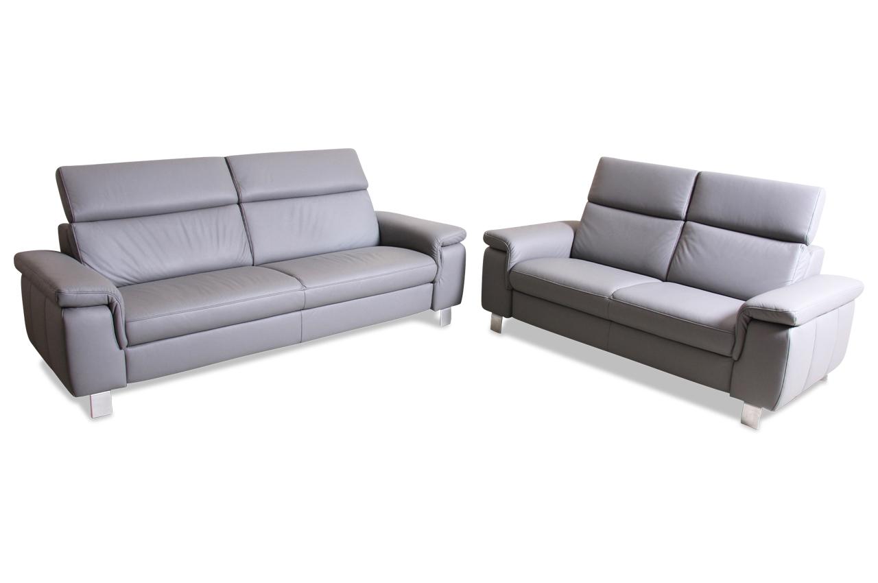 leder garnitur 3 2 grau mit federkern sofas zum halben preis. Black Bedroom Furniture Sets. Home Design Ideas