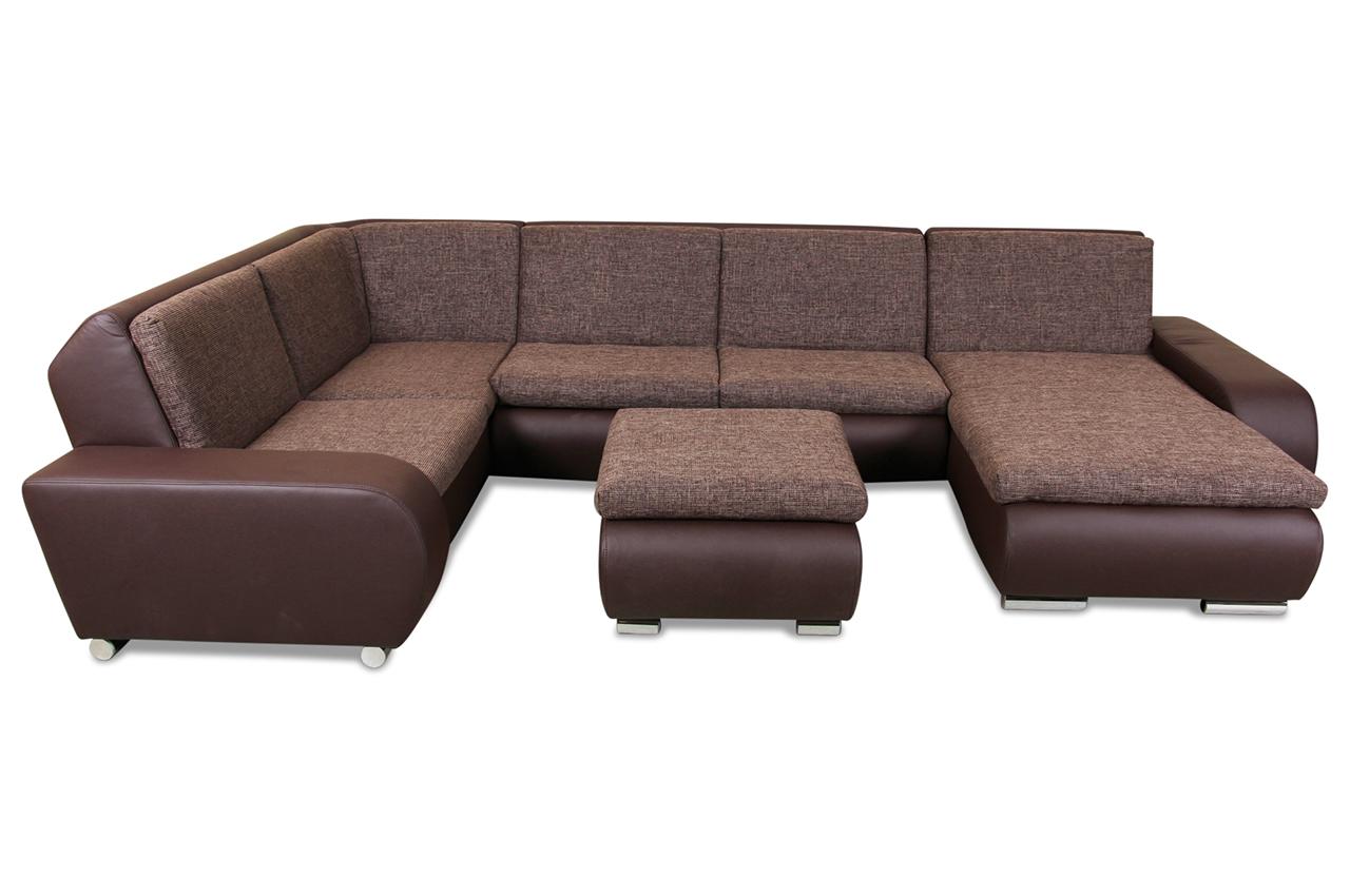 wohnlandschaft ollego mit schlaffunktion braun mit federkern sofas zum halben preis. Black Bedroom Furniture Sets. Home Design Ideas