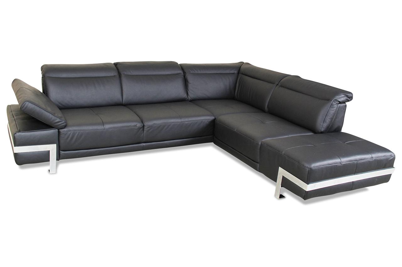 Leder ecksofa xl schwarz mit federkern sofas zum for Leder ecksofa mit bettfunktion