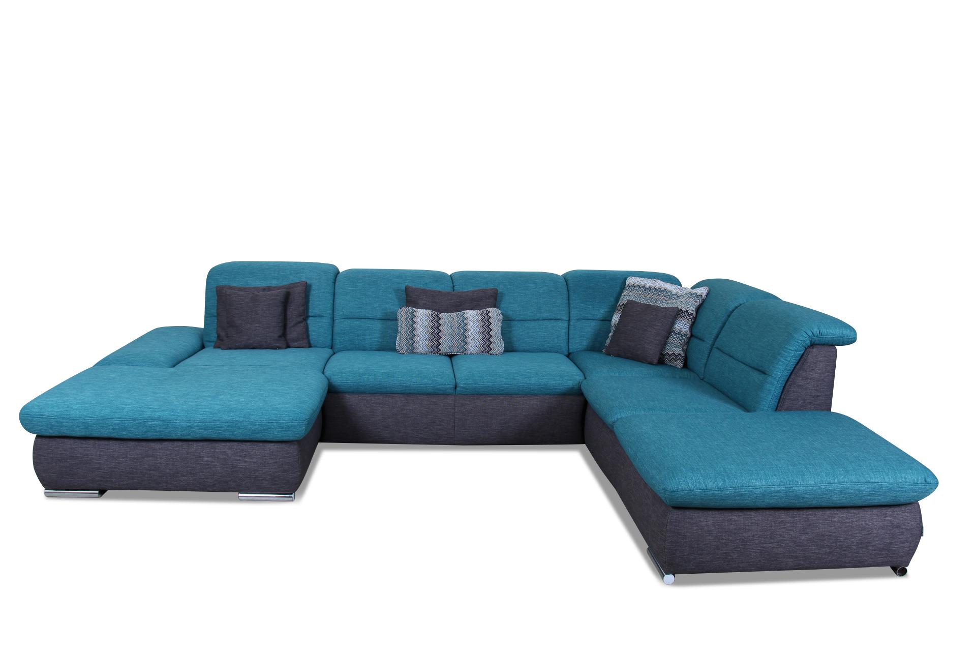 wohnlandschaft mit schlaffunktion blau mit federkern sofas zum halben preis. Black Bedroom Furniture Sets. Home Design Ideas