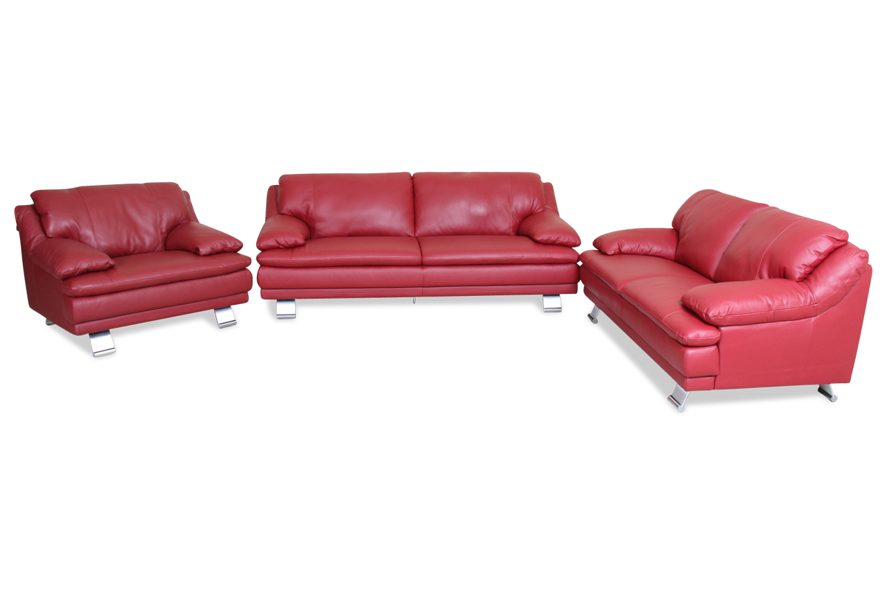 editions leder garnitur 3 2 1 u118 rot sofas zum halben preis. Black Bedroom Furniture Sets. Home Design Ideas