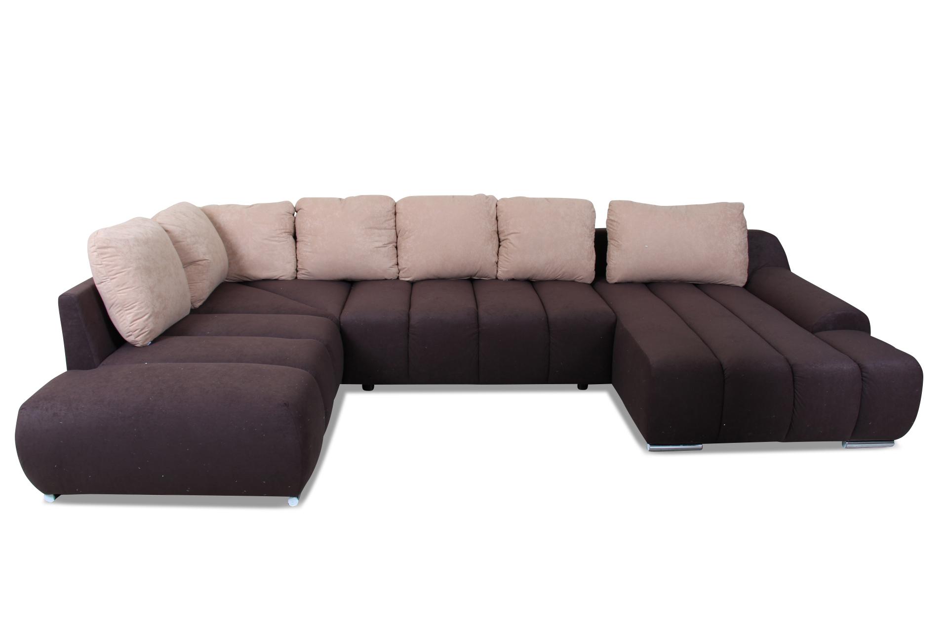 wohnlandschaft mit schlaffunktion braun mit federkern sofas zum halben preis. Black Bedroom Furniture Sets. Home Design Ideas
