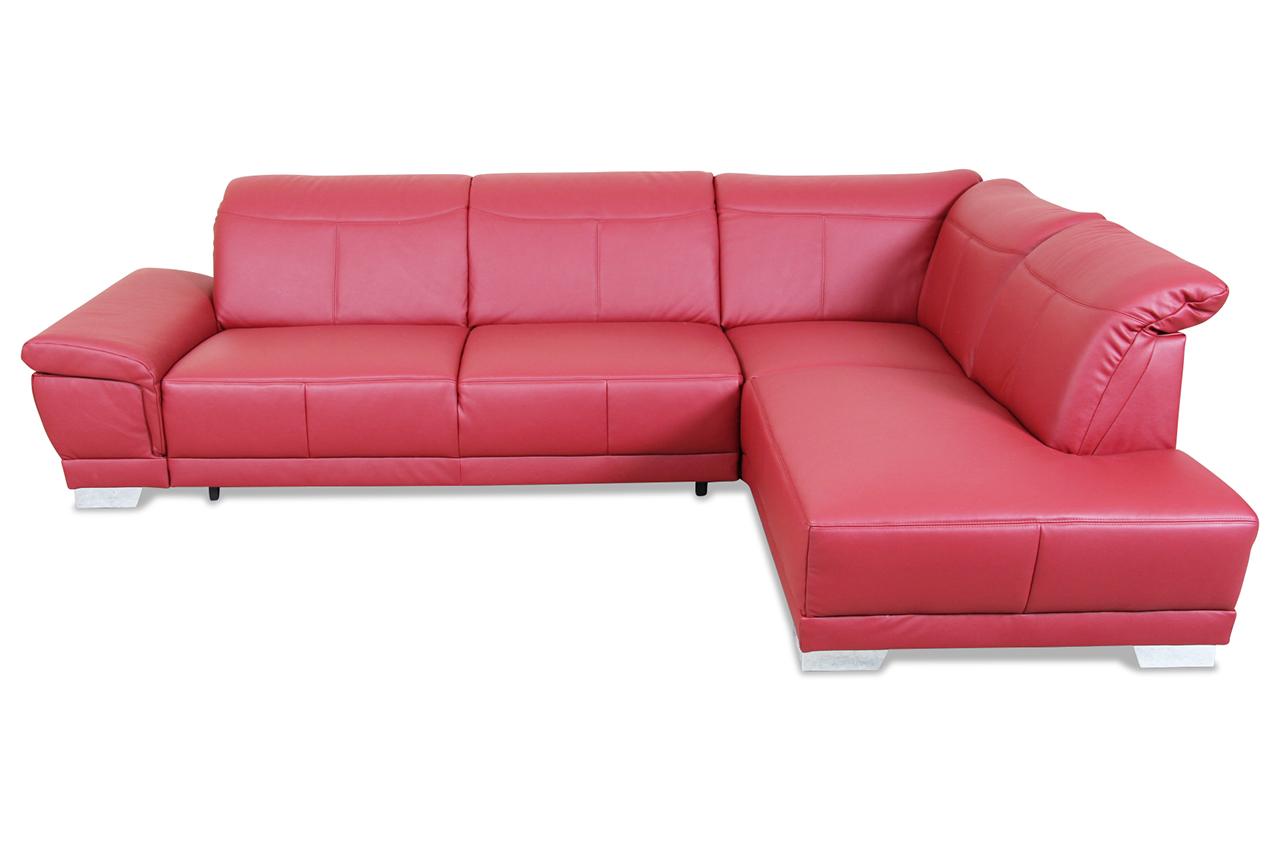 ada alina leder ecksofa xl 7624 mit schlaffunktion rot. Black Bedroom Furniture Sets. Home Design Ideas