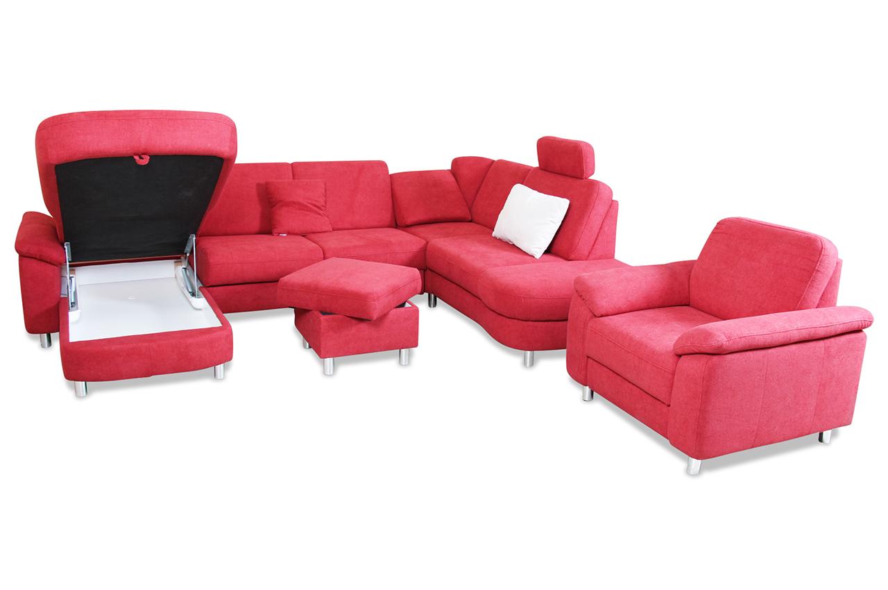 wohnlandschaft mit schlaffunktion rot mit federkern sofas zum halben preis. Black Bedroom Furniture Sets. Home Design Ideas