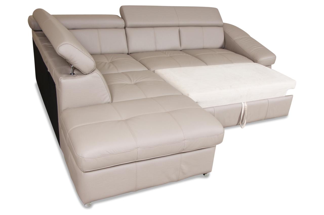 cotta leder ecksofa xl bravo mit schlaffunktion und relax creme sofas zum halben preis. Black Bedroom Furniture Sets. Home Design Ideas