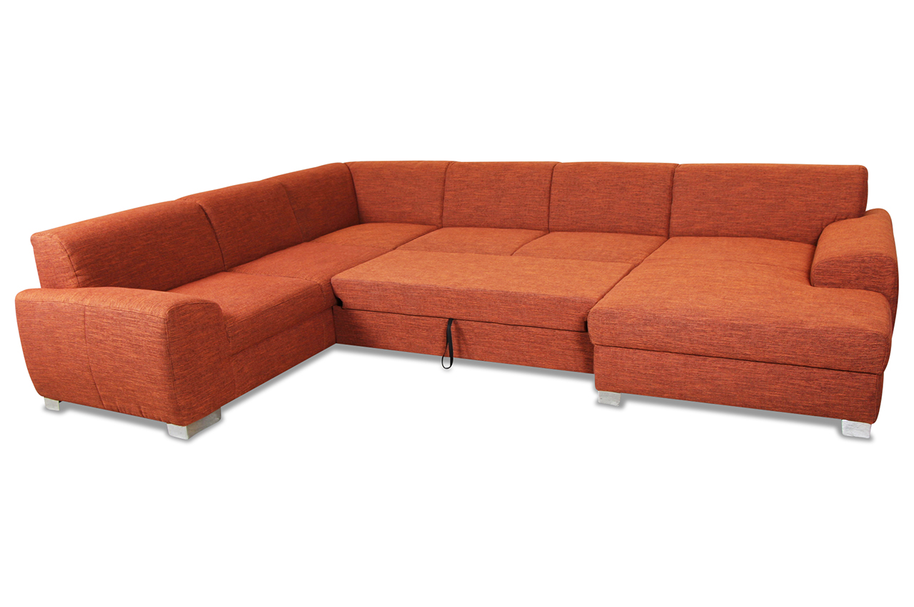 wohnlandschaft ricardo mit schlaffunktion orange sofas zum halben preis. Black Bedroom Furniture Sets. Home Design Ideas