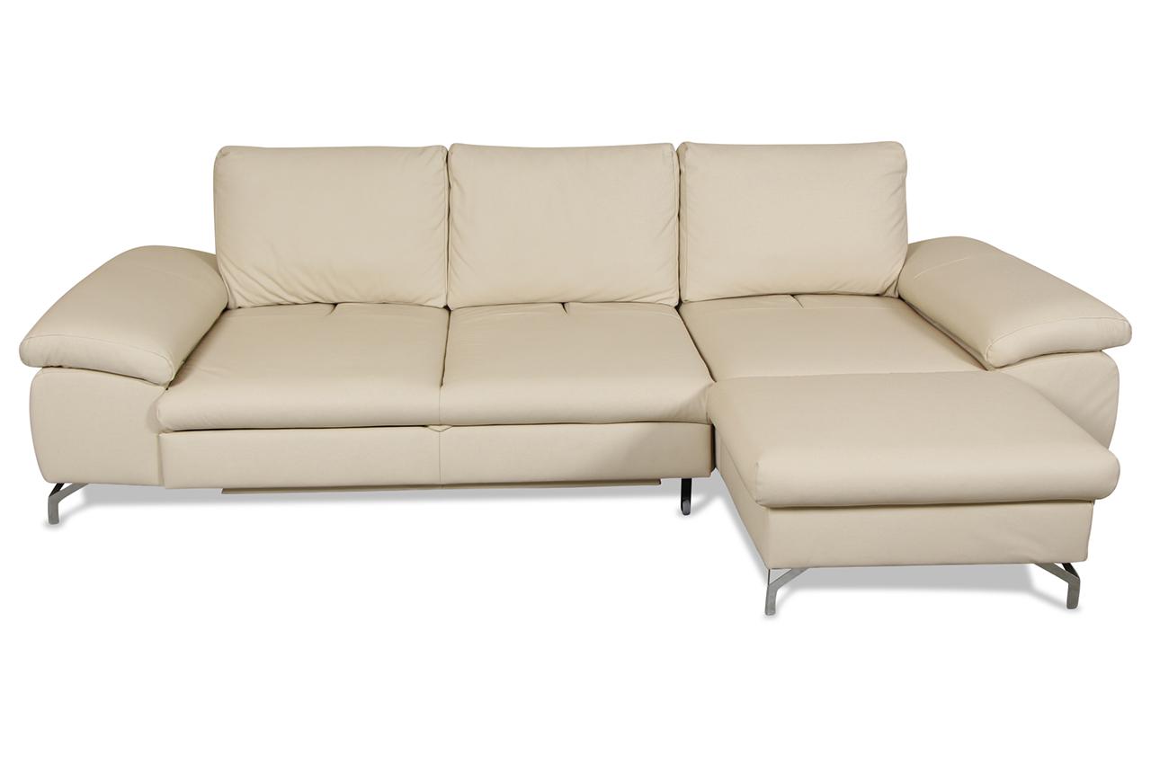 cotta leder ecksofa rimini mit schlaffunktion und relax creme sofas zum halben preis. Black Bedroom Furniture Sets. Home Design Ideas