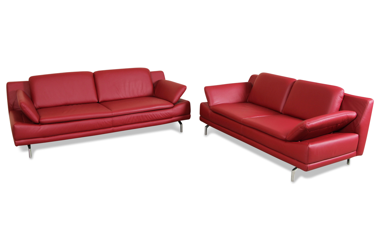 Sofa team leder garnitur 3 2 577 rot sofas zum halben for Sofa garnitur