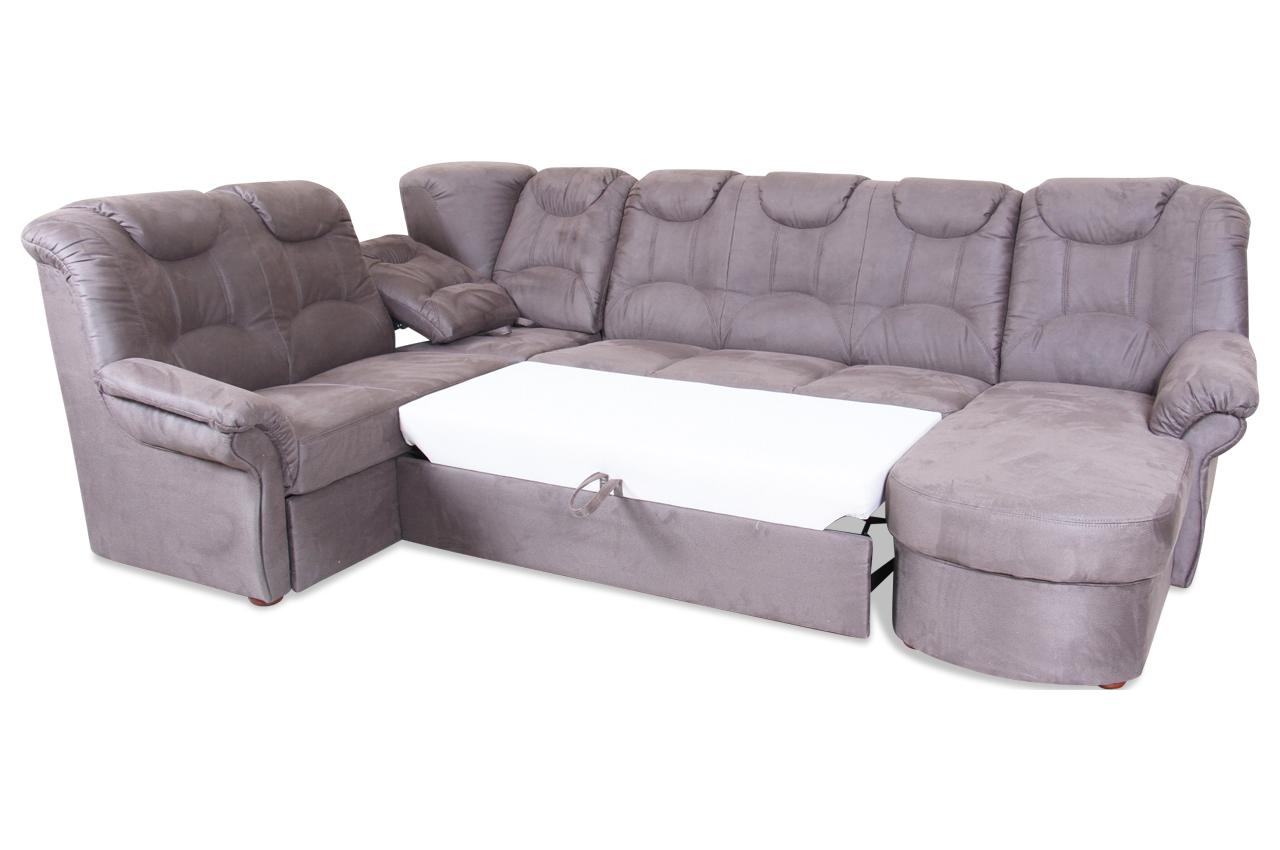 wohnlandschaft linus mit relax und schlaffunktion grau mit federkern sofas zum halben preis. Black Bedroom Furniture Sets. Home Design Ideas