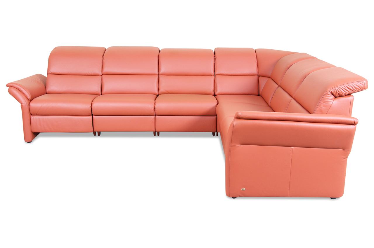 Polsteria Leder Rundecke Bison Mit Relax Orange Sofa Couch Ecksofa