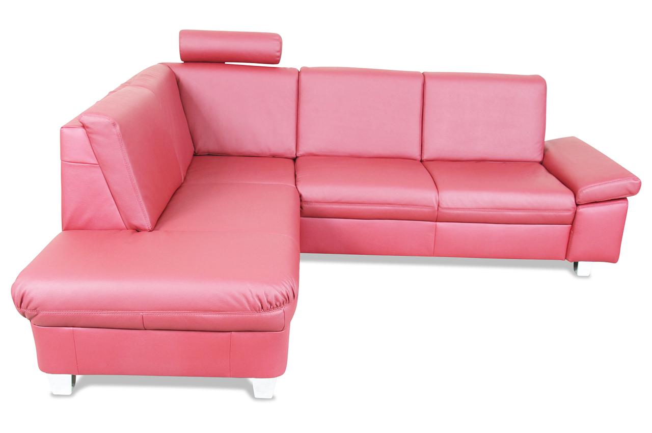 ada alina leder ecksofa xl 7423 rot mit federkern sofa. Black Bedroom Furniture Sets. Home Design Ideas