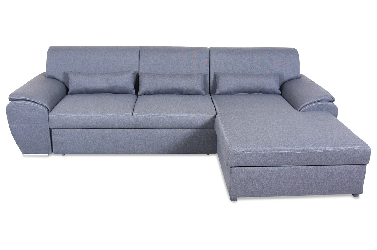 ecksofa almera mit schlaffunktion grau mit federkern. Black Bedroom Furniture Sets. Home Design Ideas