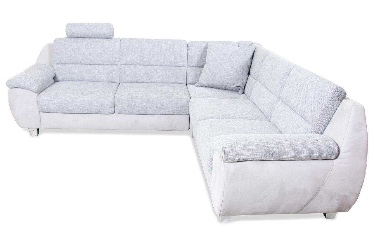 Ada Alina Rundecke 7422 Grau Mit Federkern Sofa Couch Ecksofa