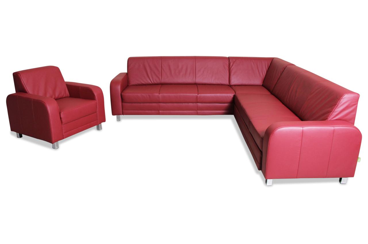 Ada Alina Leder Rundecke 7406 Mit Schlaffunktion Rot Sofa Couch Ecksofa Ebay