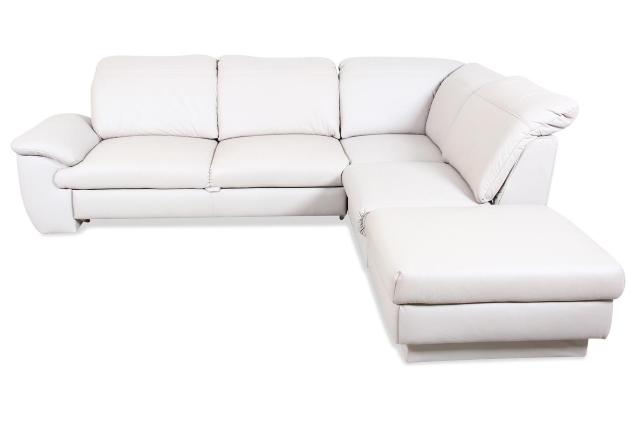 cotta leder ecksofa xl penthouse mit schlaffunktion creme mit federkern s. Black Bedroom Furniture Sets. Home Design Ideas