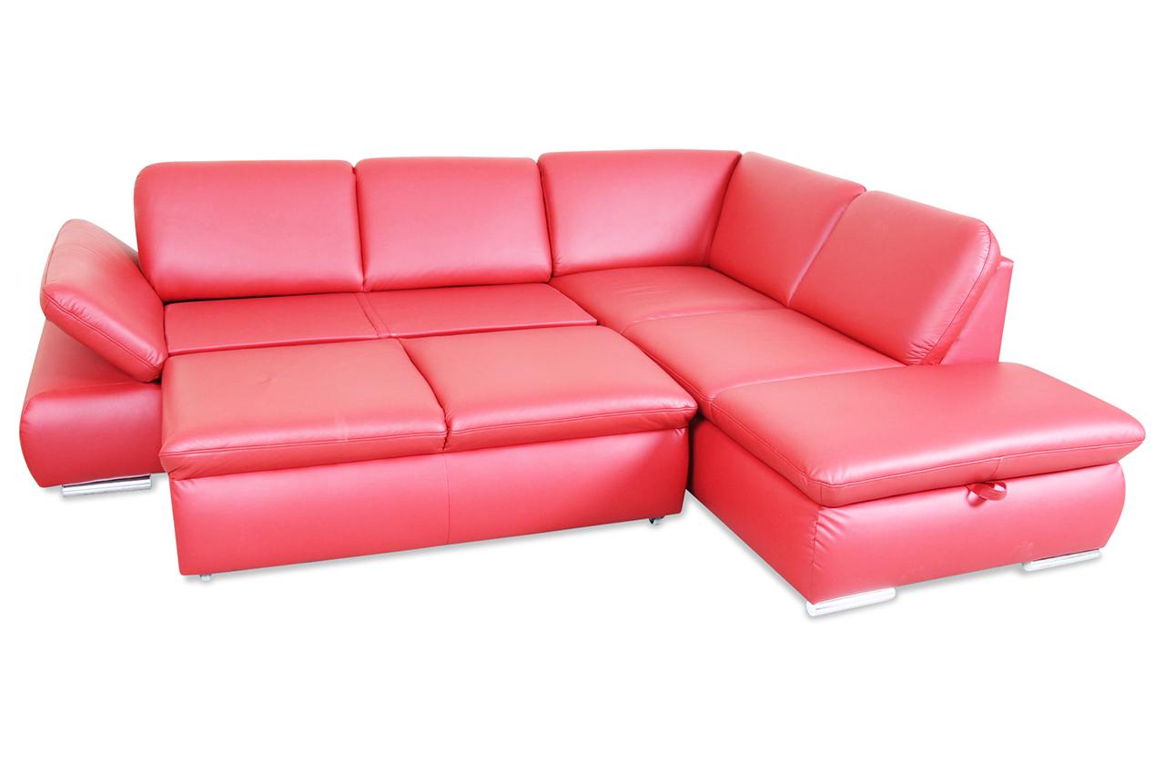 leder ecksofa xl mit schlaffunktion rot mit federkern. Black Bedroom Furniture Sets. Home Design Ideas