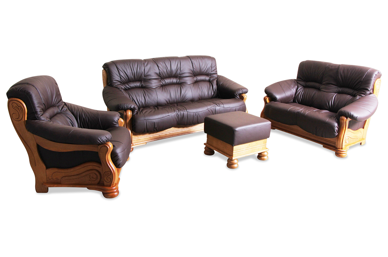 max winzer leder garnitur 3 2 1 texas braun sofas zum. Black Bedroom Furniture Sets. Home Design Ideas