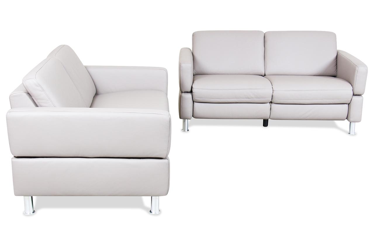 wohnzimmer couch poco:Poco Leder Garnitur Akador – Grau mit Federkern – Sofa Couch Ecksofa