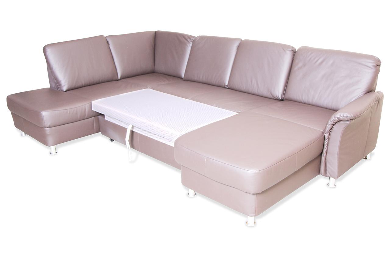 ada alina leder wohnlandschaft 7403 mit schlaffunktion braun sofas zum halben preis. Black Bedroom Furniture Sets. Home Design Ideas