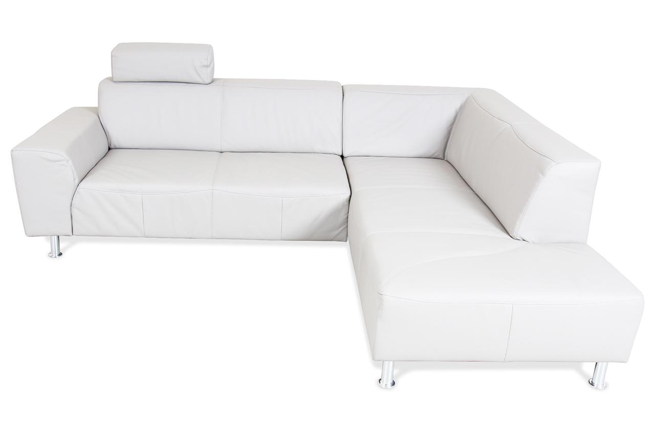ada alina leder ecksofa xl 7127 grau mit federkern sofas zum halben preis. Black Bedroom Furniture Sets. Home Design Ideas