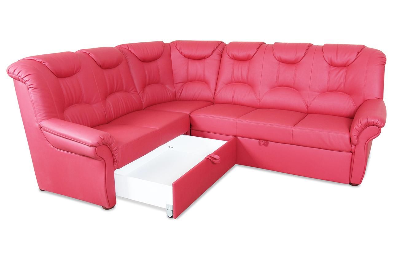 leder rundecke linus mit schlaffunktion rot mit federkern sofas zum halben preis. Black Bedroom Furniture Sets. Home Design Ideas