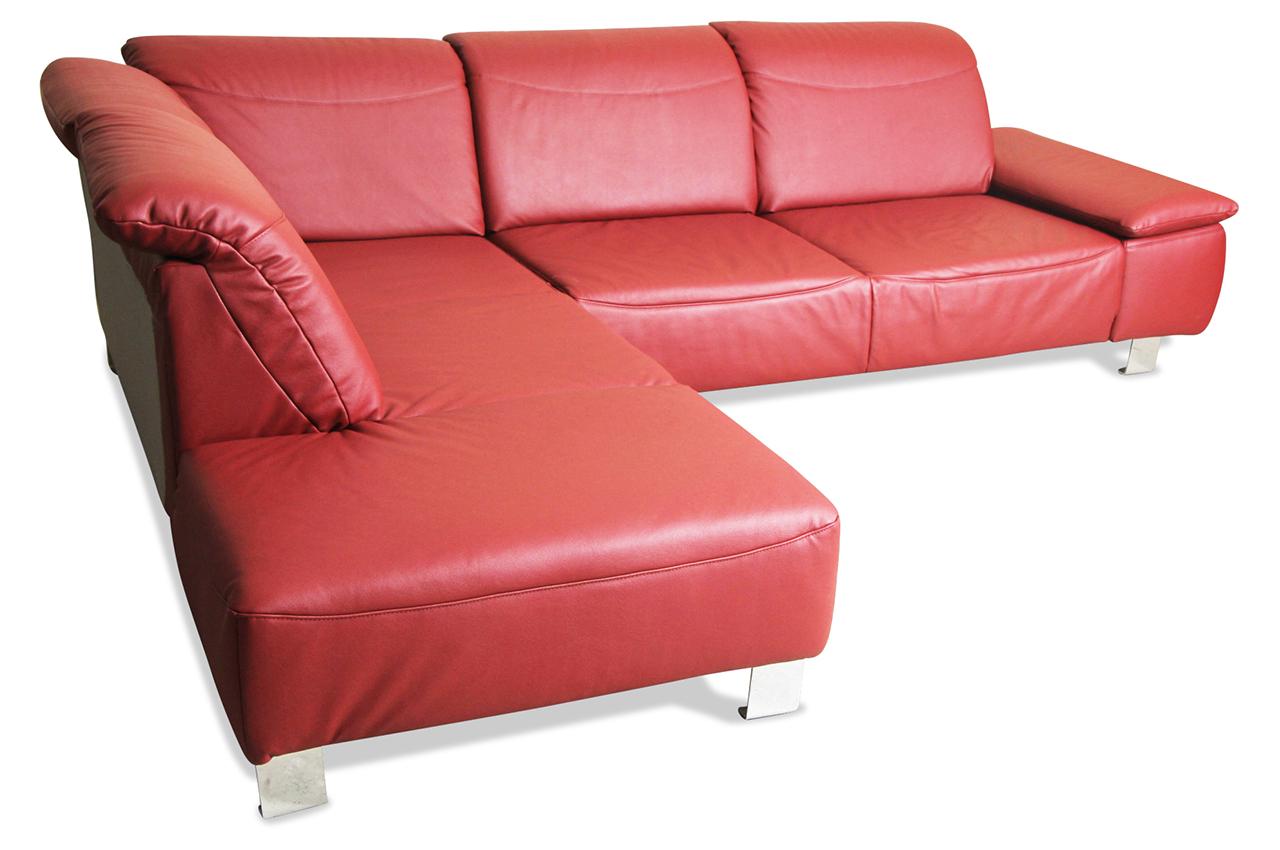 Ada alina leder ecksofa 7155 rot sofas zum halben preis for Ecksofa leder rot