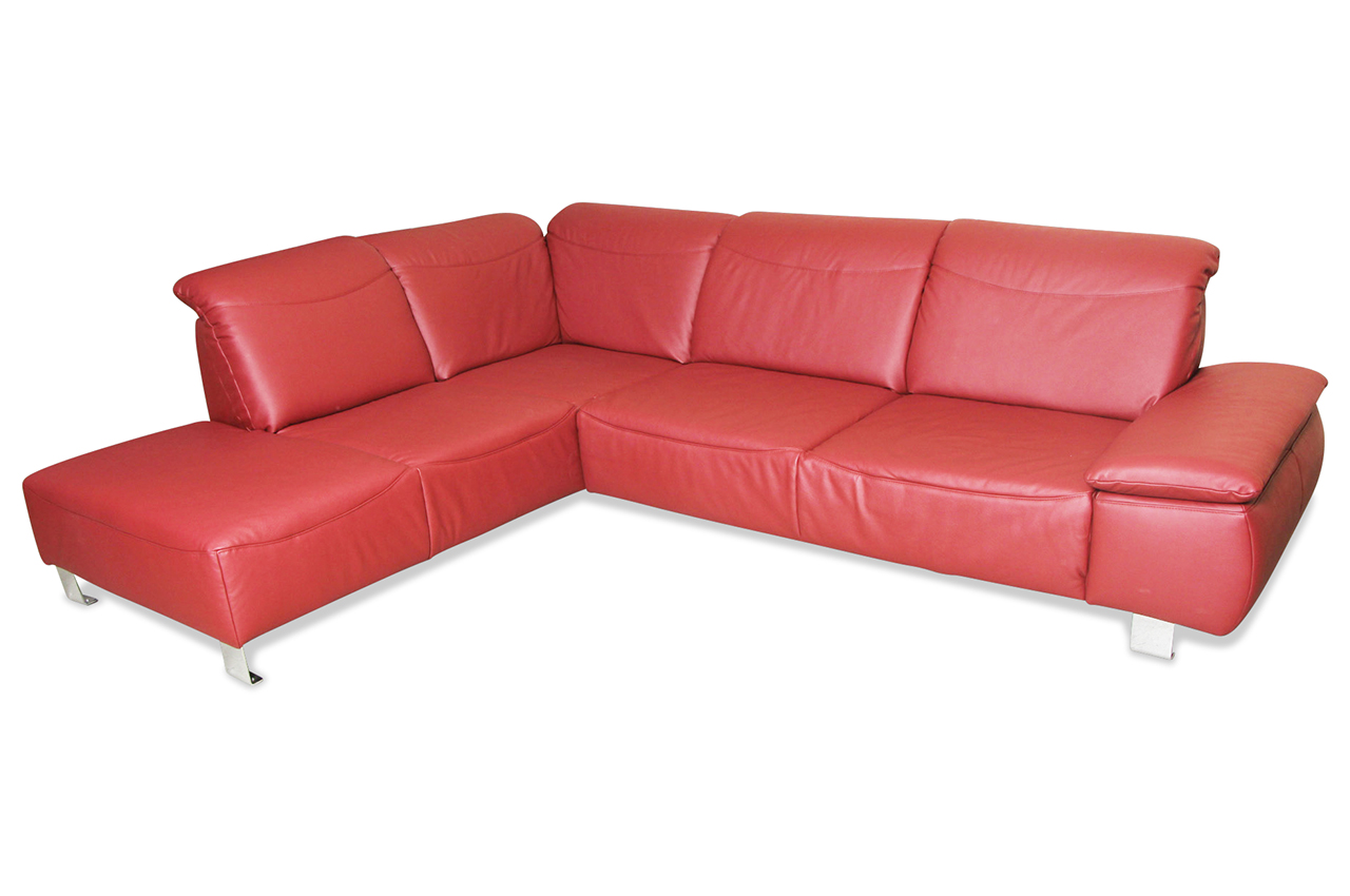 ada alina leder ecksofa 7155 rot sofas zum halben preis. Black Bedroom Furniture Sets. Home Design Ideas