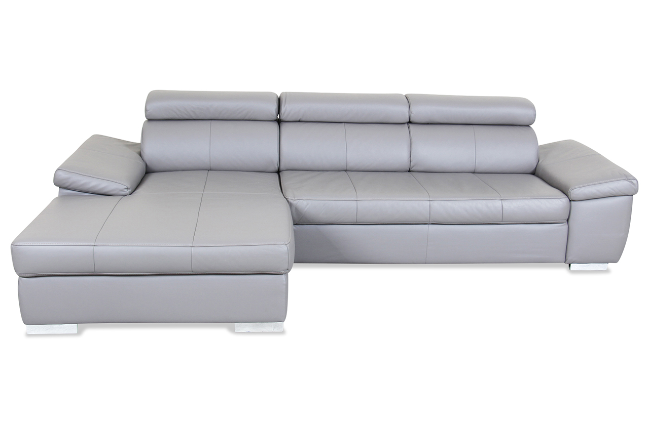 sale leder ecksofa catwalk grau mit federkern sofa couch ecksofa ebay. Black Bedroom Furniture Sets. Home Design Ideas