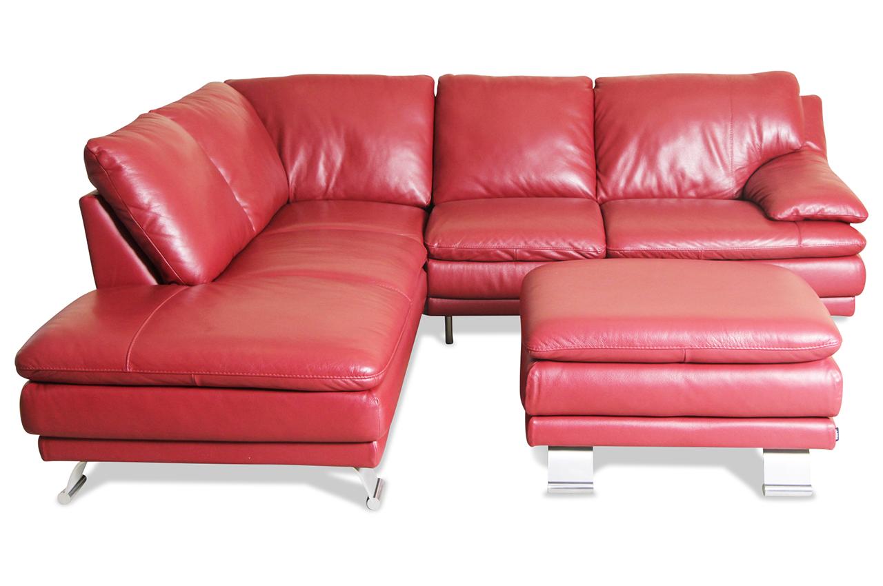 editions leder ecksofa xl 163 mit hocker rot sofas zum halben preis. Black Bedroom Furniture Sets. Home Design Ideas