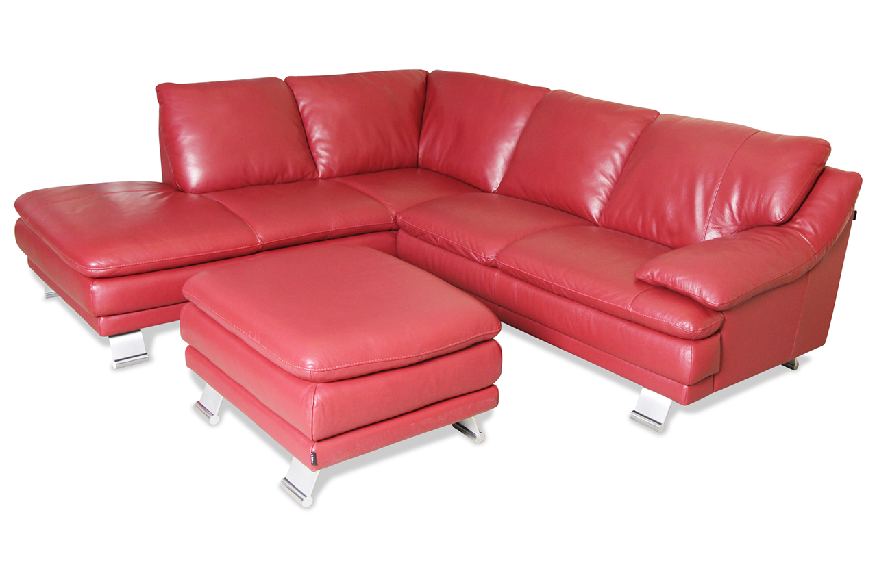 Editions leder ecksofa xl 163 mit hocker rot sofa for Ecksofa leder bettfunktion