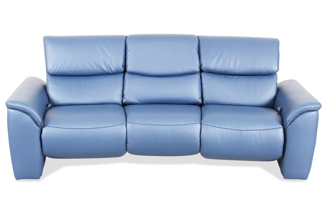 Leder 3er sofa mit relax blau mit federkern sofa for Ecksofa leder federkern