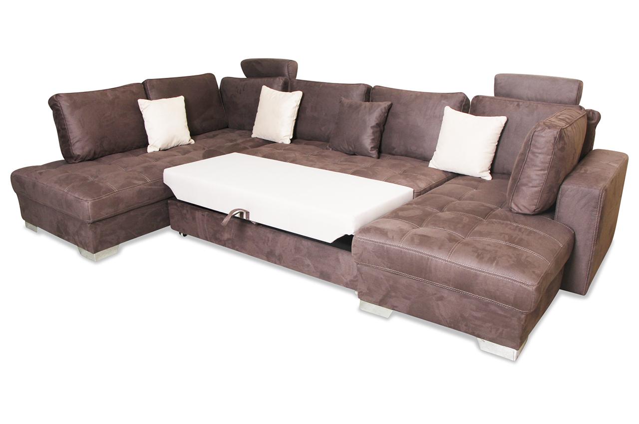 wohnlandschaft arles mit sitzverstellung und schlaffunktion braun mit federkern sofas zum. Black Bedroom Furniture Sets. Home Design Ideas