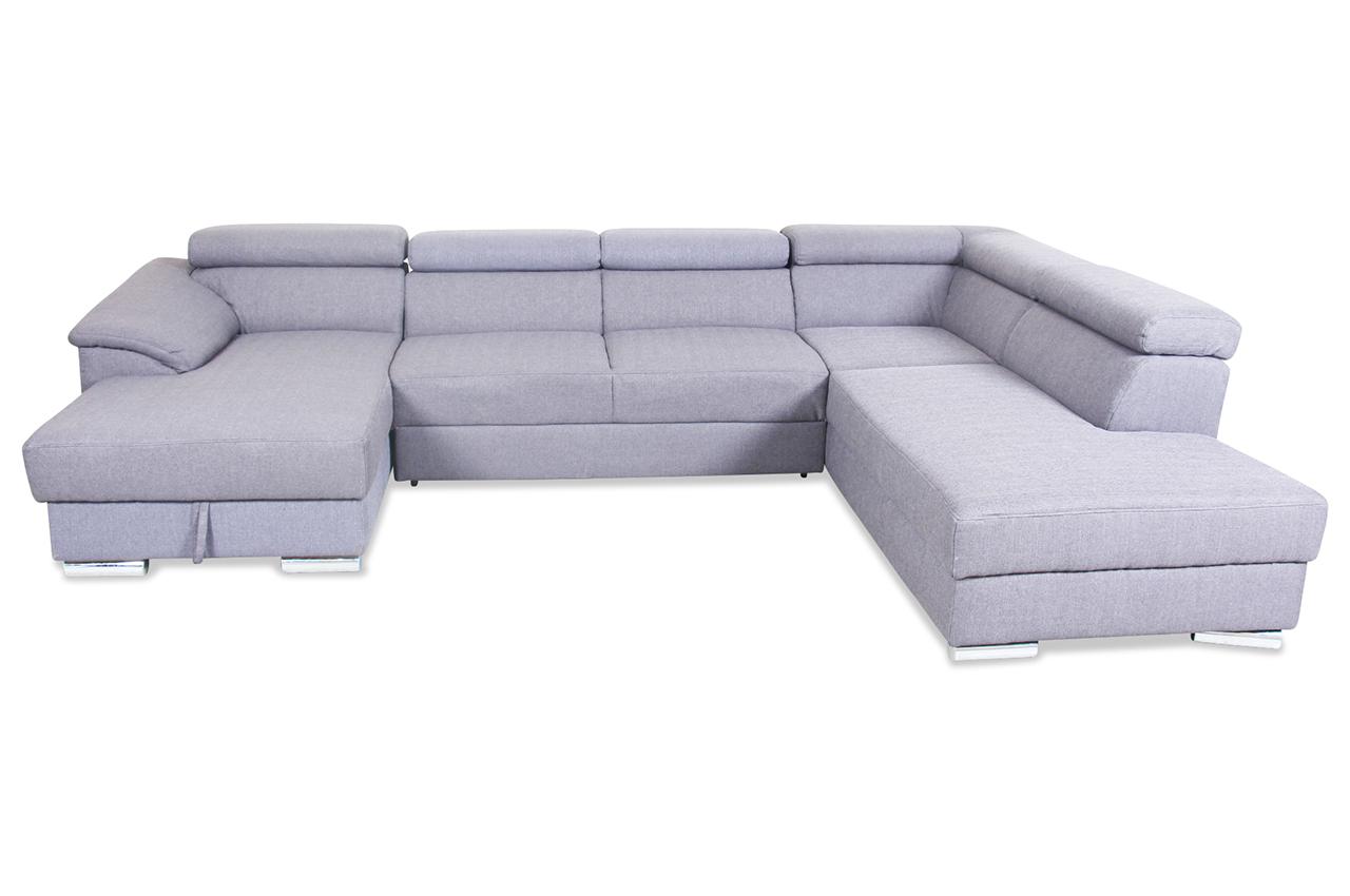 wohnlandschaft david mit schlaffunktion grau mit federkern sofas zum halben preis. Black Bedroom Furniture Sets. Home Design Ideas