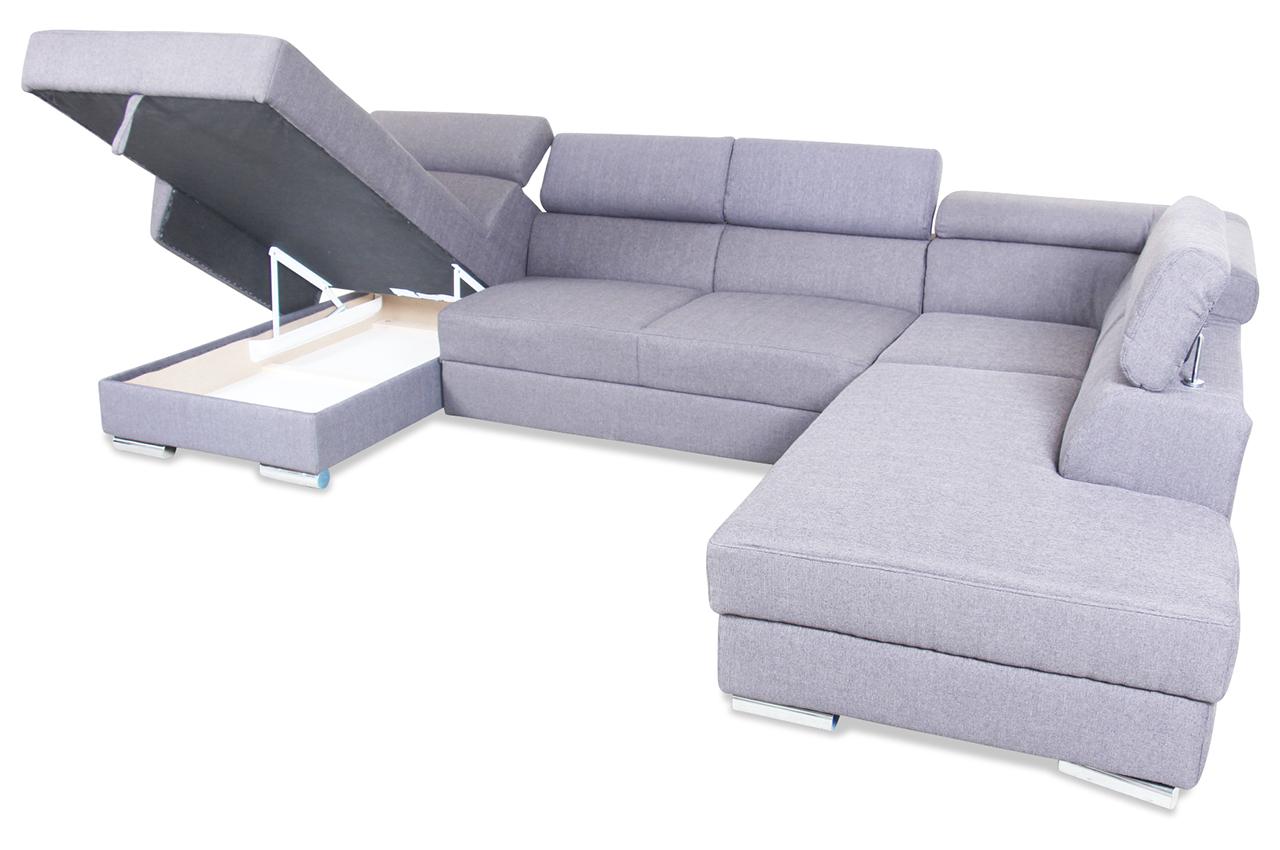 wohnlandschaft david mit schlaffunktion grau mit. Black Bedroom Furniture Sets. Home Design Ideas