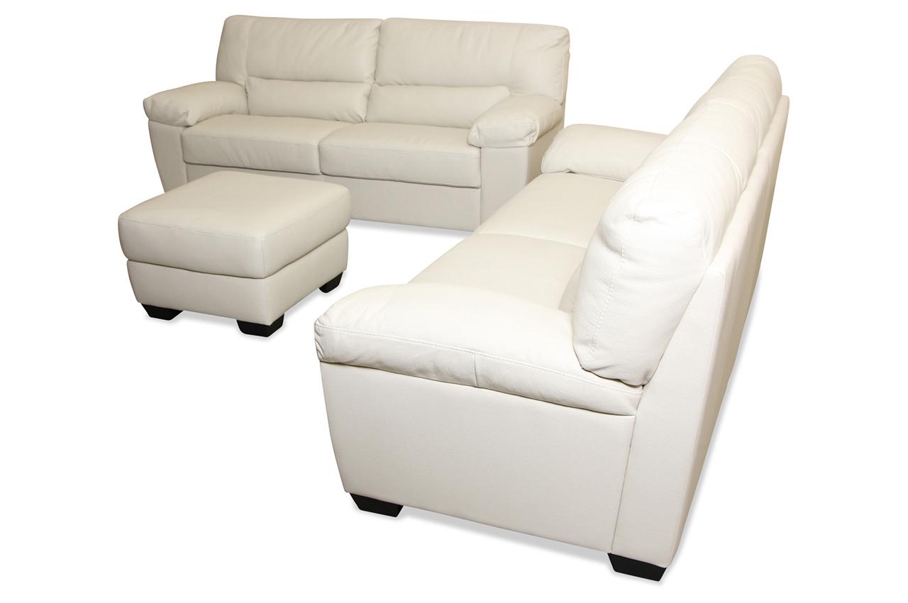 editions leder garnitur u172 mit hocker weiss sofas zum halben preis. Black Bedroom Furniture Sets. Home Design Ideas