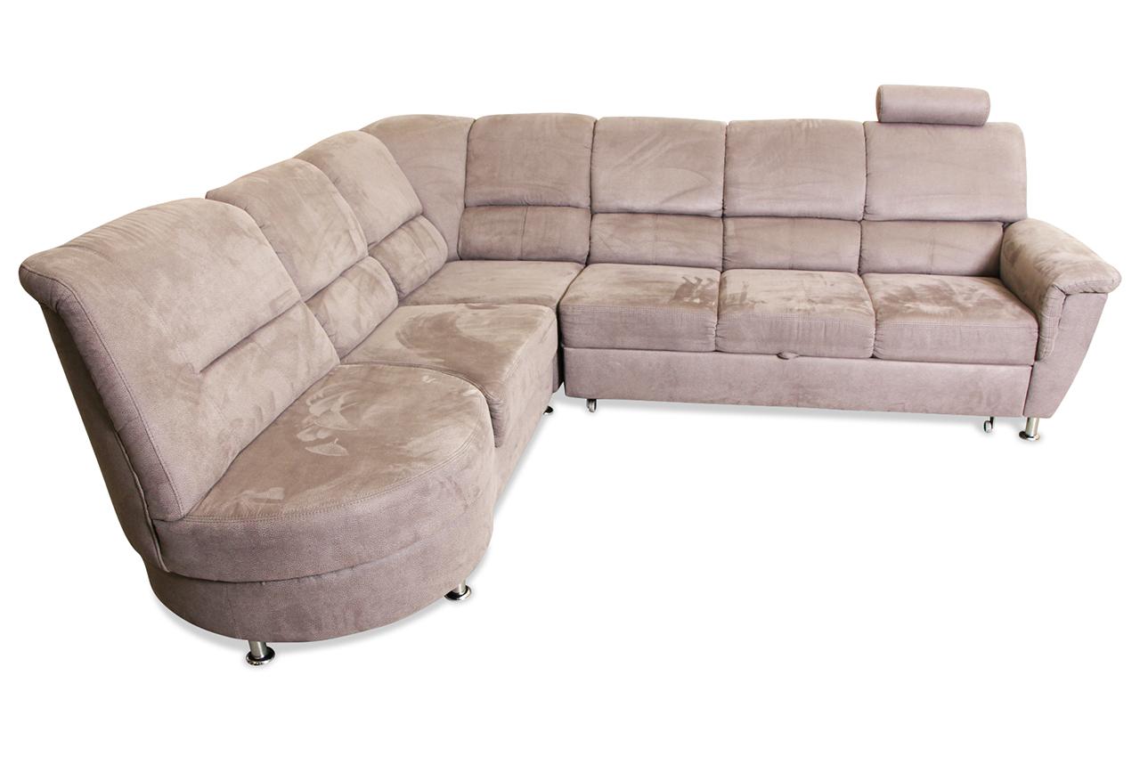 rundecke cascir mit schlaffunktion grau sofa couch ecksofa ebay. Black Bedroom Furniture Sets. Home Design Ideas
