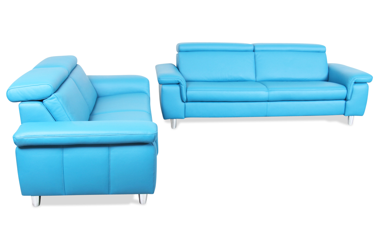 Leder garnitur 3 2 blau mit federkern sofa couch for Ecksofa leder federkern