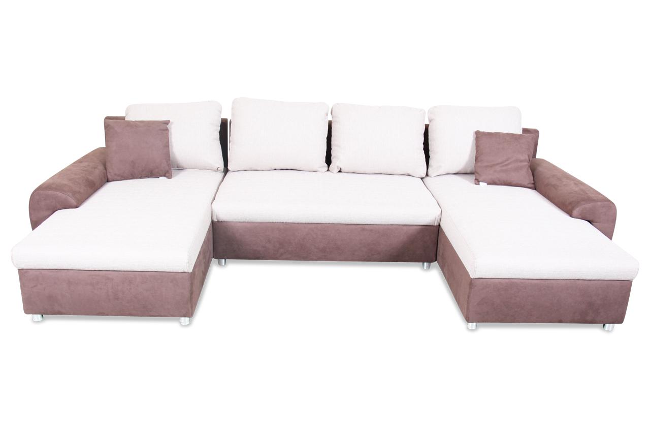 Wohnlandschaft desperado creme mit federkern sofa for Wohnlandschaft creme